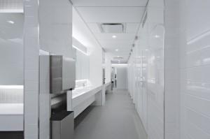 White tile bathroom vanity sink top