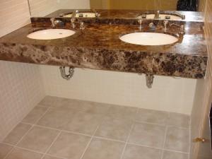 Bathroom double sink vanity stone top
