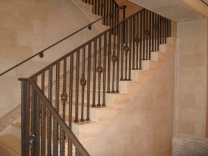 Stone Stair Treads with decorative railing