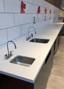 Kitchen Double Sink White Stone Top