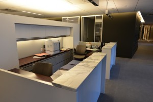 Work Space Cubicle Divider with Stone Tops
